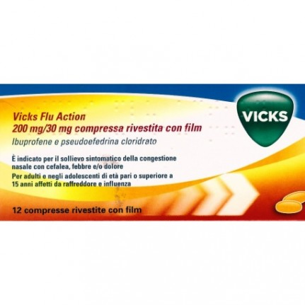 VICKS FLUACTION12CPR200+30MG